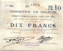 France 10 Francs Cuincy Commune - 1915