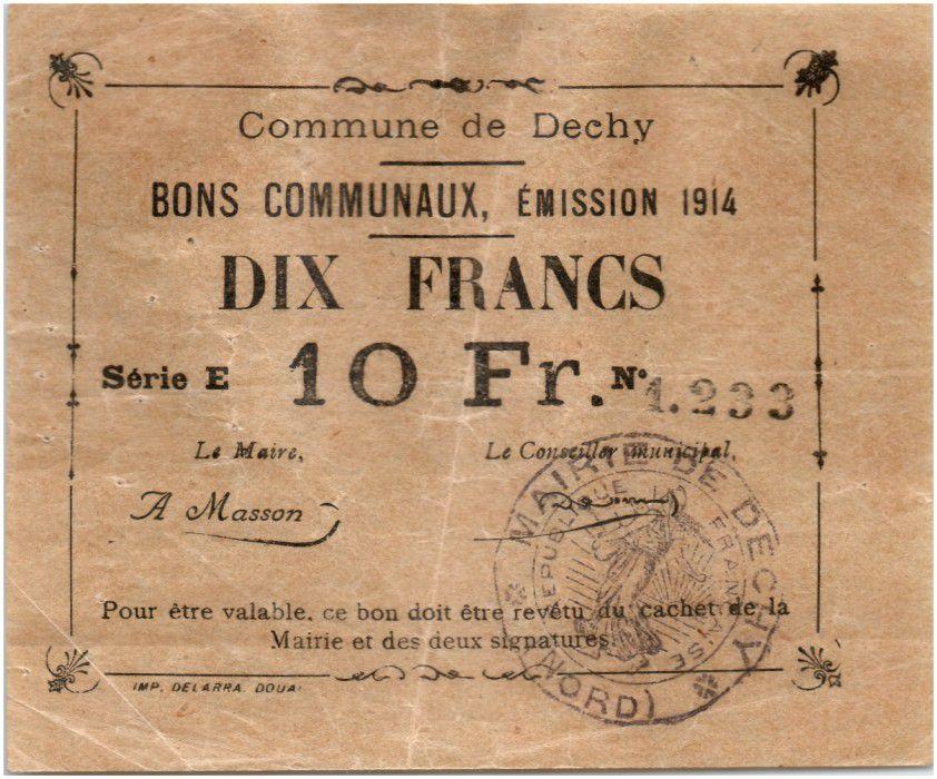 France 10 Francs Dechy Commune - 1914