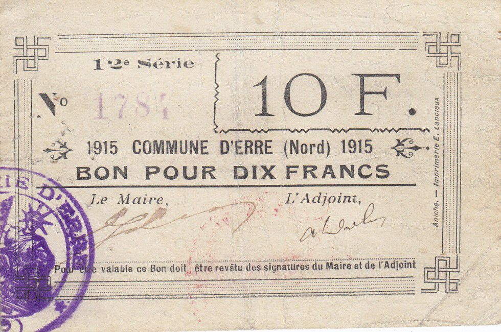 France 10 Francs Erre City - 1915