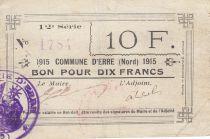France 10 Francs Erre Commune - 1915