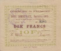 France 10 Francs Faumont Commune - 1915
