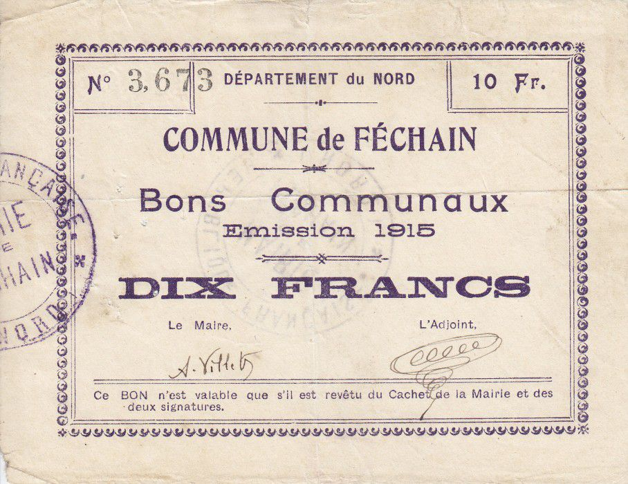 France 10 Francs Fechain Commune - 1915
