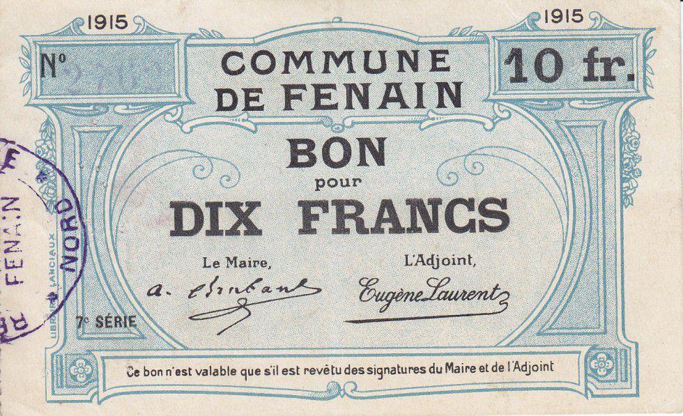 France 10 Francs Fenain City - 1915