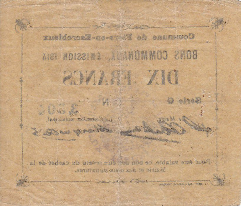 France 10 Francs Flers-En-Escrebieux City - 1914