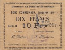 France 10 Francs Flers-En-Escrebieux Commune - 1914