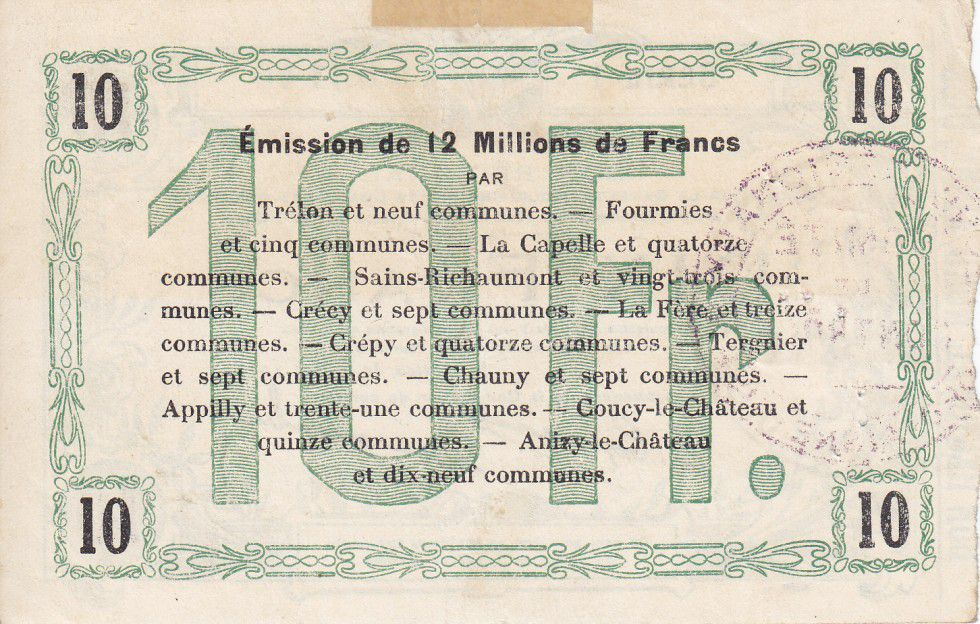 France 10 Francs Fourmies Commune - 1916