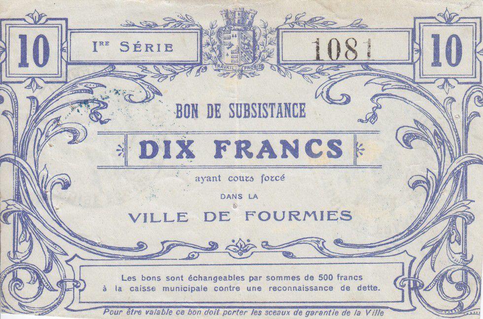 France 10 Francs Fourmies Ville
