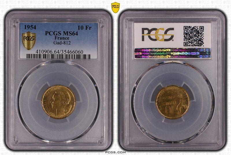 France 10 Francs Guiraud - 1954 - PCGS MS 64
