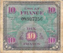 France 10 Francs Impr. américaine (drapeau) - 1944 Sans Série - TB