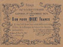 France 10 Francs Langres - 1870 - Haute Marne