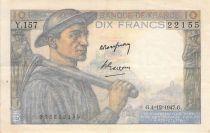 France 10 Francs Miner - 04-12-1947 Serial Y.157 - F to VF