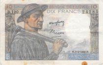 France 10 Francs Miner - 07-04-1949 Serial B.190 - VF
