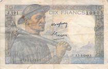 France 10 Francs Miner - 07-04-1949 Serial J.191 - F+