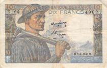 France 10 Francs Miner - 07-04-1949 Serial U.194 - F