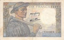 France 10 Francs Miner - 09-01-1947 Serial J.138 - VF