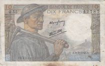 France 10 Francs Miner - 09-09-1943 Serial Q.55 - G+
