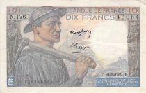 France 10 Francs Miner - 10-03-1949 Serial N.176 - F to VF
