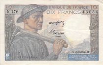 France 10 Francs Miner - 10-03-1949 Serial N.176 - F to VF
