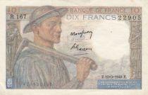 France 10 Francs Miner - 10-03-1949 Serial R.167 - VF