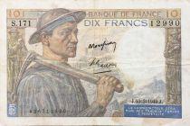 France 10 Francs Miner - 10-03-1949 Serial S.171 - VF
