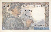 France 10 Francs Miner - 10-03-1949 Serial X.181 - F to VF