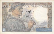 France 10 Francs Miner - 10-03-1949 Serial X.181 - F to VF