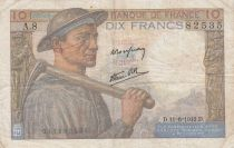 France 10 Francs Miner - 11-06-1942 Serial A.8 - F to VF
