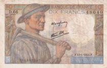 France 10 Francs Miner - 13-01-1944 Serial D.66 - F+