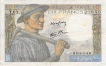 France 10 Francs Miner - 13-01-1944 Serial T.68 - F to VF