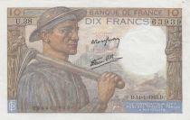 France 10 Francs Miner - 14-01-1943 Serial U.38