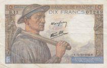 France 10 Francs Miner - 15-10-1942 Serial B.13 - VF