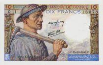France 10 Francs Miner - 15-10-1942 Serial Q.11 - XF