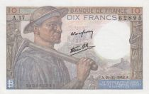 France 10 Francs Miner - 19-11-1942 Serial A.17 - XF to XF+