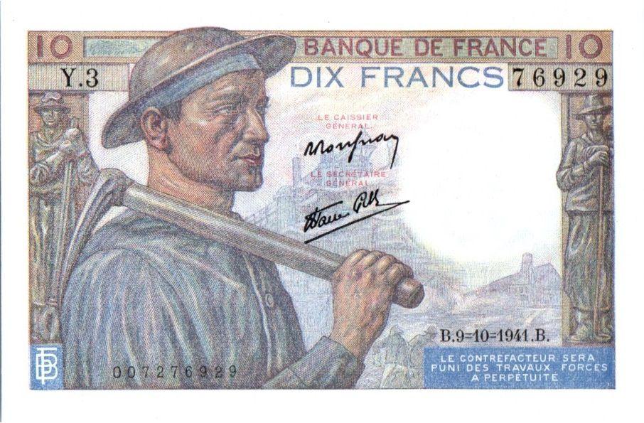 France 10 Francs Miner - 19-11-1942 Serial S.18