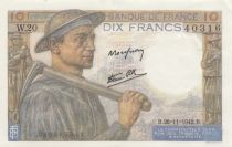 France 10 Francs Miner - 19-11-1942 Serial W.20 - AU