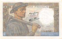 France 10 Francs Miner - 19-12-1946 Serial J.121 - AU+