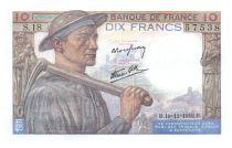 France 10 Francs Miner - 1942-11-19 Serial S.18