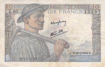 France 10 Francs Miner - 20-01-1944 Serial L.80 - F to VF