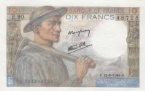 France 10 Francs Miner - 22-06-1944 Serial E.90 - XF to AU