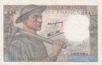 France 10 Francs Miner - 22-06-1944 Serial K.96 - XF