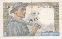 France 10 Francs Miner - 25-03-1943 Serial C.42 - VF