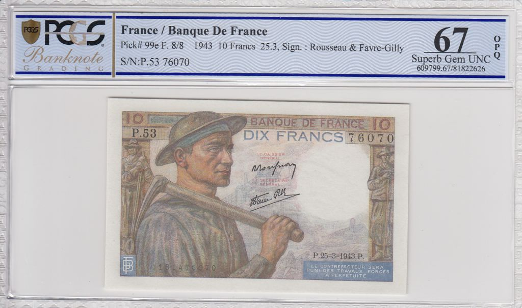 France 10 Francs Miner - 25-03-1943 Serial P.53   -  PCGS 67 OPQ