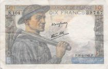 France 10 Francs Miner - 26-04-1945 Serial N.104 - F to VF