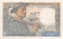 France 10 Francs Miner - 26-04-1945 Serial V.100 - AU