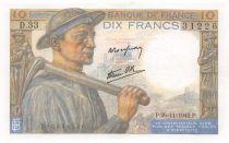 France 10 Francs Miner - 26-11-1942 Serial D.33 - aUNC
