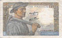France 10 Francs Miner - 26-11-1942 Serial J.34 - F