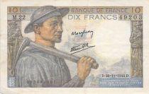 France 10 Francs Miner - 26-11-1942 Serial M.22 - VF