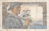 France 10 Francs Miner - 26-11-1942 Serial U.34 - G+