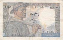 France 10 Francs Miner - 30-06-1949 Serial J.205 - F+