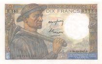 France 10 Francs Miner - 30-10-1947 Serial E.140 - UNC